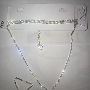 Silver diamond choker/necklace